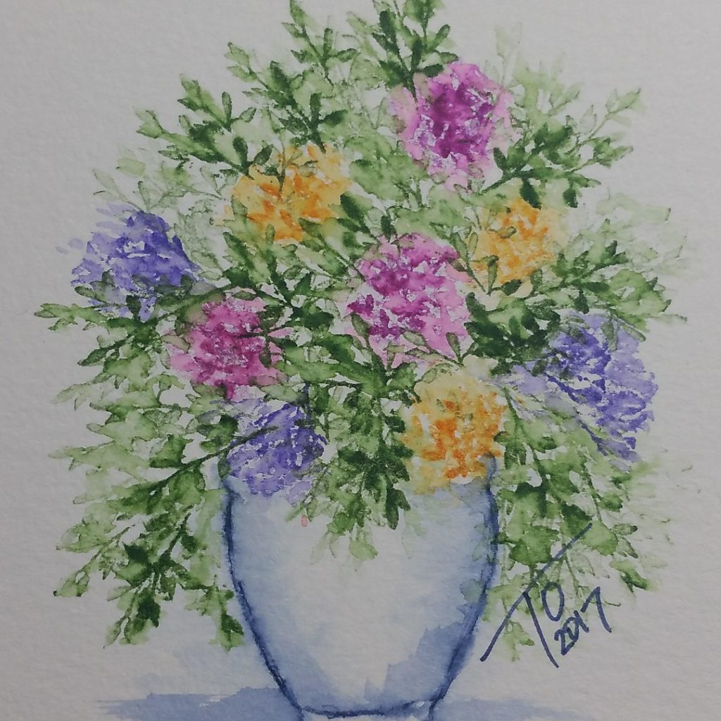 Watch a tutorial on how to create this watercolor painting using Art Impressions stamps.