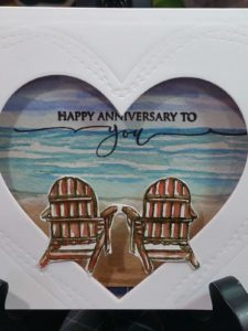 Happy Anniversary, Handmade Card, Beach, Window Card