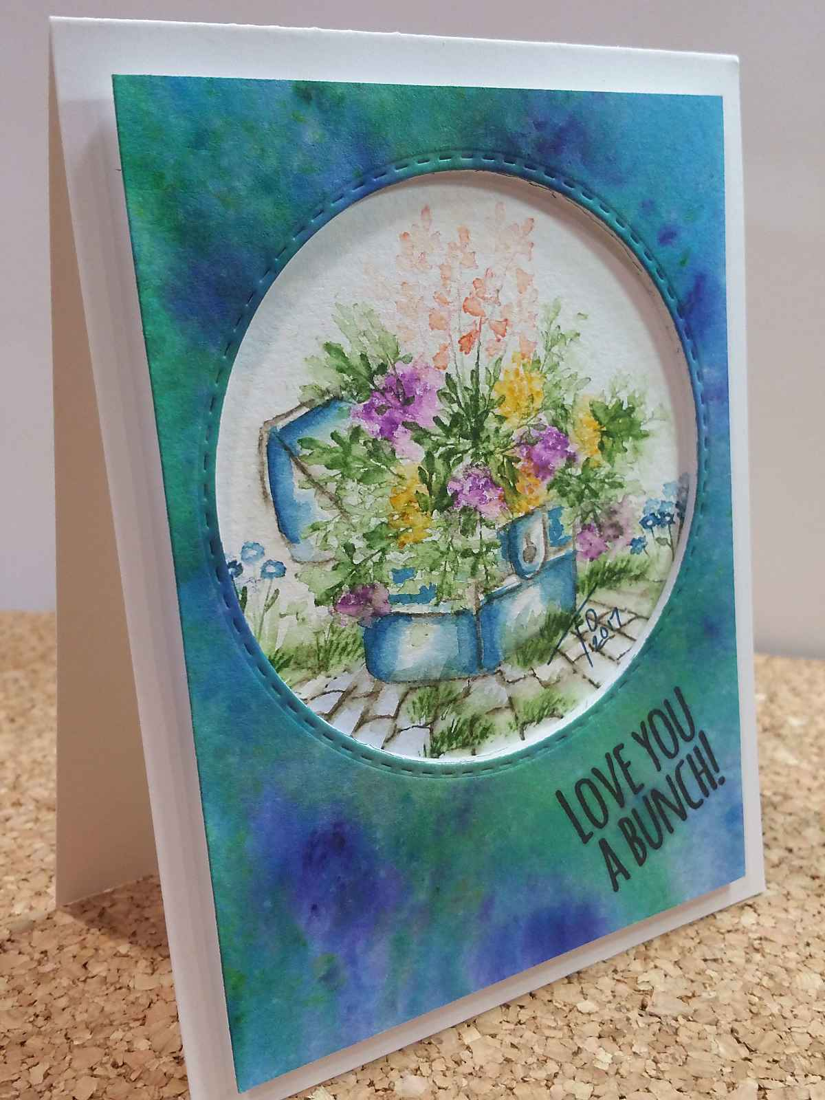 Easy watercolor painting handmade card using Art Impressions Watercolor Stamps
