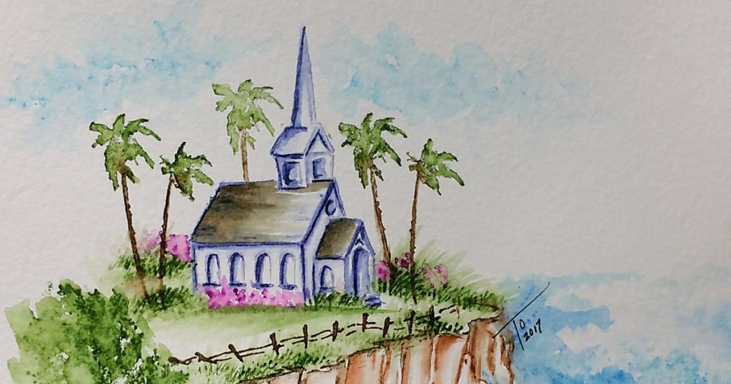 Art Impressions Watercolor Church On Cliff