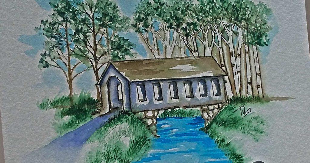 Watercolor Tutorial Covered Bridge
