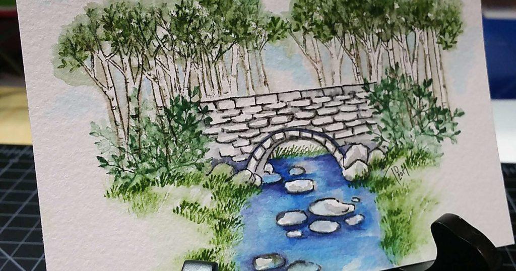 Watercolor Stone Bridge Art Impressions
