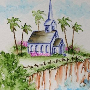 Art Impressions watercolor church on a cliff