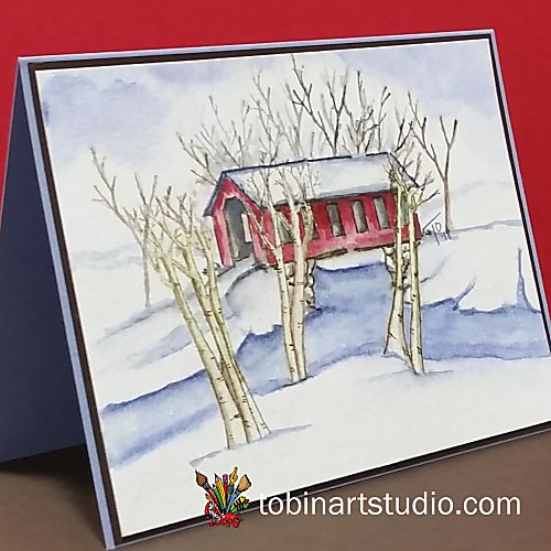 Winter Covered Bridge | Watercolor Weekend |Art Impressions